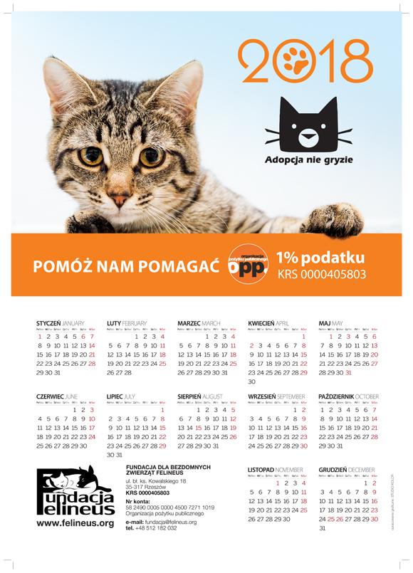 Kalendarz jednoplanszowy 2018_FUNDACJA_Q.indd